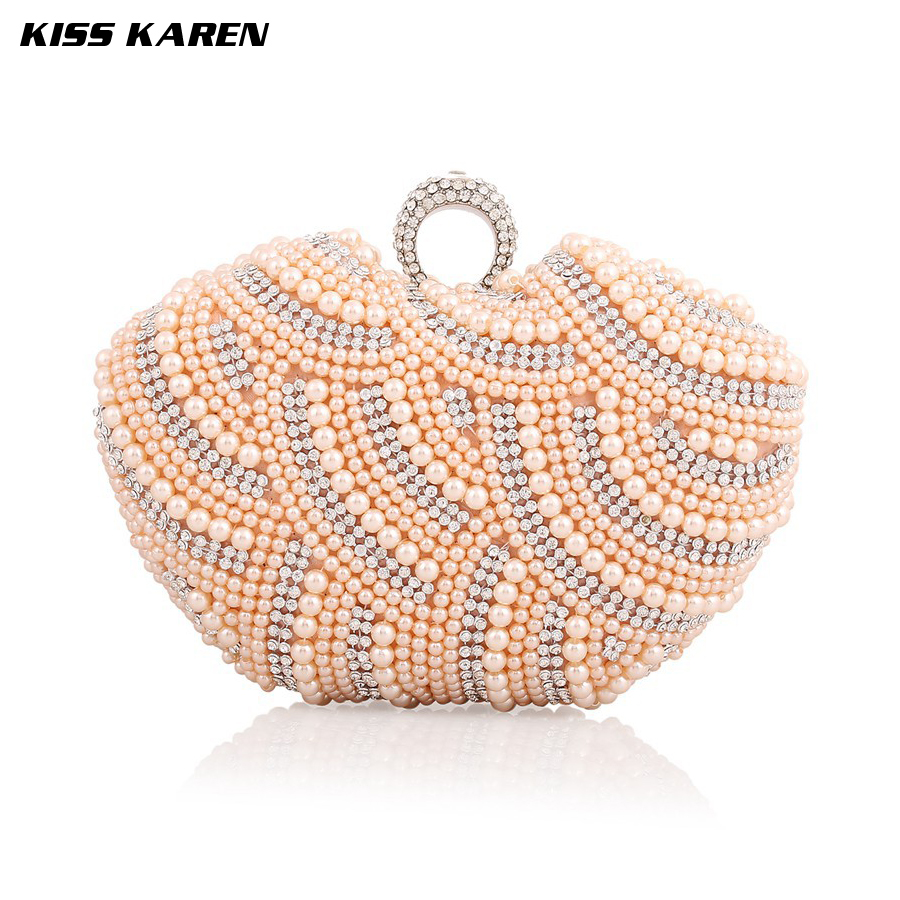 Kiss Karen Elegant Pearl Beading New Fashion Womens Clutches Evening Bags Women Party Clutch Bag Club Elegant Lady Minaudiere<br><br>Aliexpress