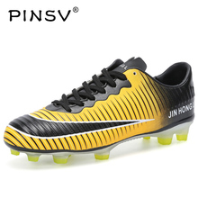 PINSV Men's Black Orange High Ankle AG Sole Outdoor Cleats Football Boots Shoes Soccer Cleats