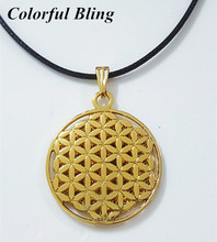 Dropshipping classical silver palted Flower of Life Kabbalah 28mm Round Pendant Necklace with 50mm Ball chain(China)