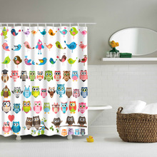 Papa&Mima Cartoon Colorful Owls Waterproof Shower Curtains Polyester Bathroom Curtains With Hooks 180x180cm Decorative(China)