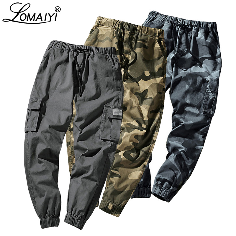 LOMAIYI Men Pants Spring Camo Joggers for Man BM278 M-7XL title=
