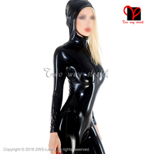 Buy Black Sexy Latex Catsuit Hoodie rope Rubber cat suit zentai Leotard long sleeves unitard body stockings jumper LT-096