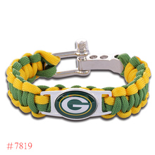 NFL Green Bay Packers Paracord Bracelet Adjustable Survival Bracelet Football Bracelet , Drop Shipping! 6Pcs/lot!