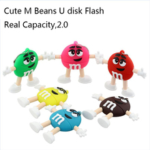 Promotion price Cute Cartoon M&M's Chocolate M Bean usb flash drive 4gb 8gb 16gb 32gb Pendrive real capacity Memory Stick U Disk(China)