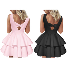 2017 new arrival summer cute sweety o neck pink black Ball Gown sleeveless v backless bowknot mini summer dress kawaii