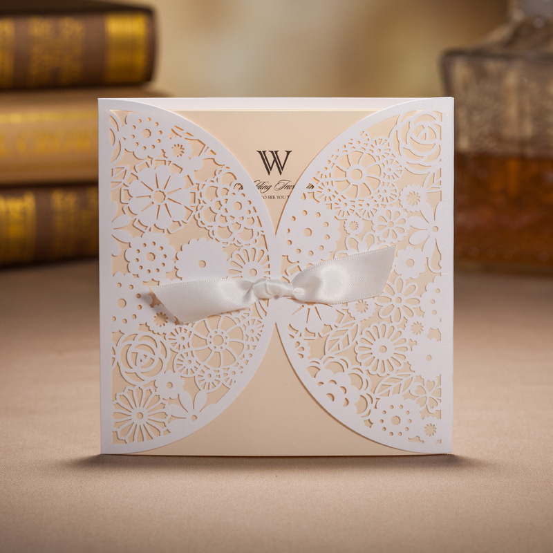 lace wedding invitations elegant embossed white ribbon butterfly envelope paper printing custom wedding invitation cards - Custom Wedding Invitation Printing