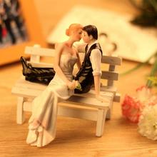 New Cute Romantic Funny Wedding Cake Topper Figure Bride & Groom Couple Bridal Decoration Not Include Bench