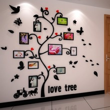 Carriage Happy tree photo frame 3d crystal acrylic three-dimensional wall stickers Sofa photos of wall decoration(China)