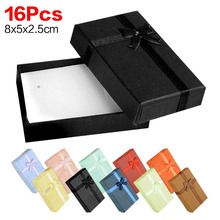 16PCS 8X5X2.5CM Jewelry Box European Bracelet&Watch Gift Boxes For Bracelets Earrings Bowtie Cases Display Different Color(China)
