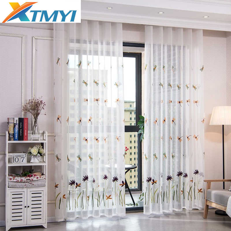 White embroidered tulle curtains for living room curtains For Bedroom window Custom Made