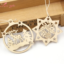 10PCS Natural Wooden Deer&Bell Pendants Christmas Motif Hanging For Home Christmas Party Decoration Xmas Tree Ornament Gifts(China)