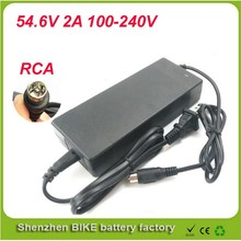 Free Shipping RCA Plug 48V 2A Charger Used For 48V Electric Bicycle Battery Charge 54.6V 2a lithium battery charger 48v charger(China)