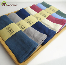 HAKOONA 100%  Linen Napkins Japanese Style Simple  Navy Blue   Cotton  Cloth Tea Towel Western  Table Napkin Placemat Wipe Cloth