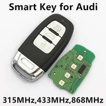 3 Buttons Car Smart Remote Key for Audi A4 S4 A5 S5 RS5 Q5 Quattro 315Mhz/433MHz/868MHz Keyless Entry 8K0 959 754G 8T0 959 754C