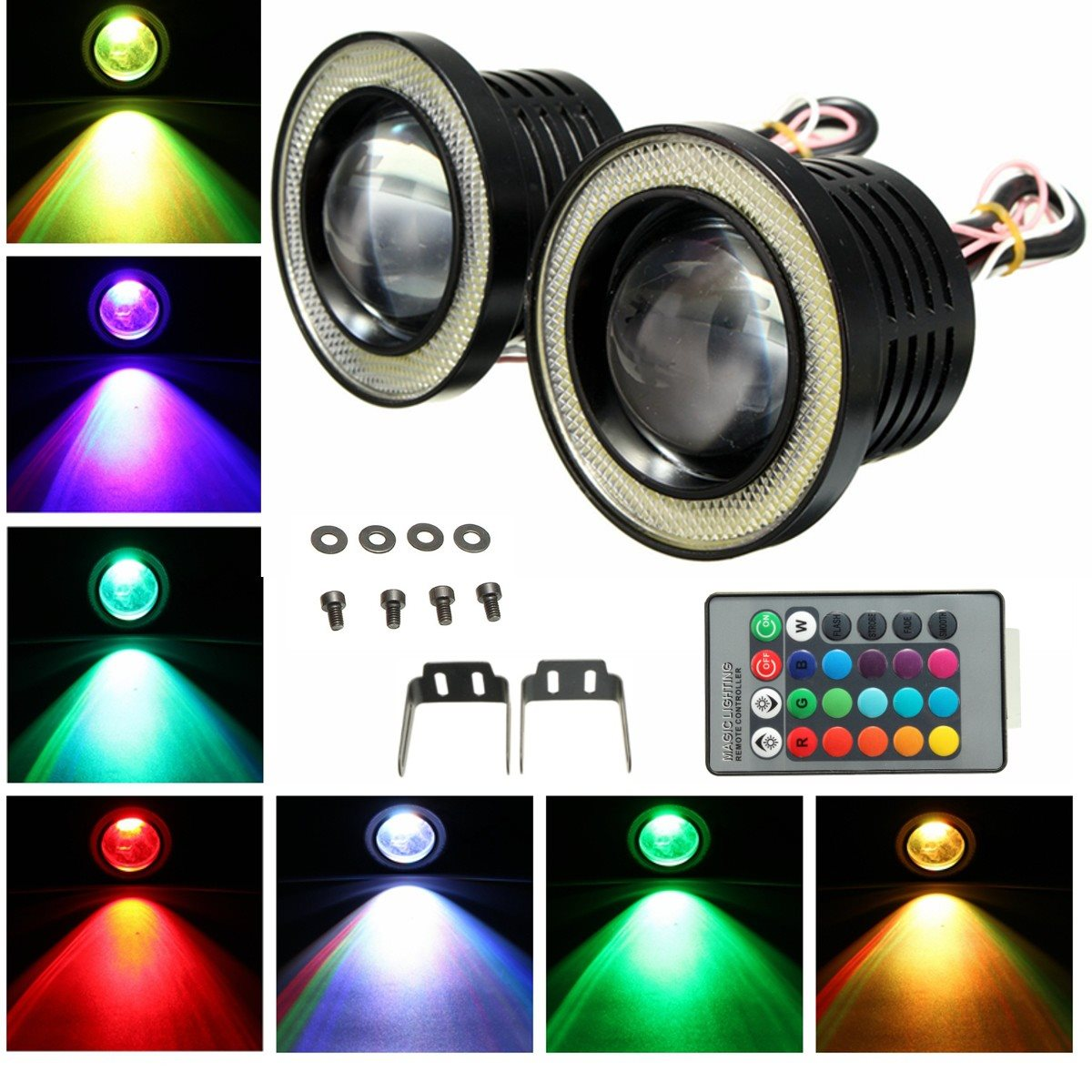 2X Wireless Control  Waterproof LED Fog Light With Lens Halo Angel Eyes Rings COB 30W White 12V SUV ATV Off Road Fog Lamp<br><br>Aliexpress