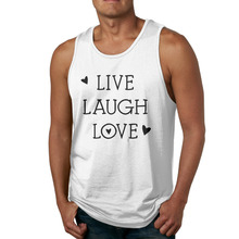 AGARY&EASY New Fashion Men Tops Live, Laugh, Love Mans Tank Tops hipster Men Tees Gyms Sleeveless Men Tanks(China)