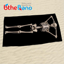 2016 New Black Color Halloween 3D Human Skeleton Skull Large Bath Beach Towel Swim Bathroom Towel 140x70cm(55''x27'')