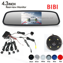 Car Parking Sensors Buzzer Speaker 4 Radars Led Lights Rear View Camera + 4.3 inch TFT Mirror Monitor Black/Silver/white/grey
