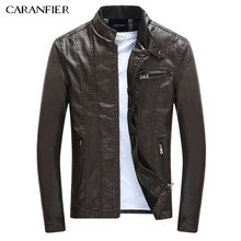CARANFIER Men's PU Jackets Coats Motorcycle Leather Jackets Men Autumn Spring Leather Clothing Male Casual Coats Clothing 3XL(China)