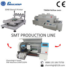 SMT Production Line 3040 Stencil Printer/ 4 heads CHMT530P4 Pick and Place Machine/ T960w Reflow Oven, Small Batch Production
