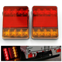 2Pcs 8 LEDS Car Truck Rear Tail Lights Warning Rear Lamps Waterproof Tailights Rear Parts For Trailer Truck Boat DC 12V(China)