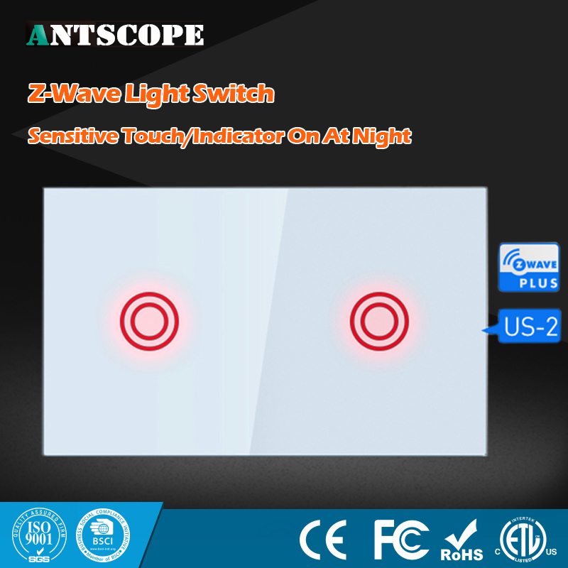NEO Coolcam Smart Home Z-Wave Plus 2CH US Light Switch Compatible Z-Wave Sensitive Touch/Indicator On At Night Home Automation<br>