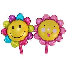 40CM Mini sun flower smile balloon face foil balloon wholesale decorate wedding decoration