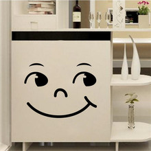 Hot sales 2016 New Home Decor Wall Sticker Cute Cartoon Smiling Face Wall Cabinet Bathroom Toilet Sticker free shipping