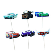 24 pcs/lot Cartoon Red Car Cupcake Topper Pick Wedding Decoration Girl Kids Birthday baby shower Party Decoration supplies
