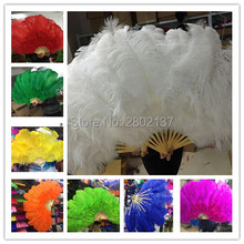 Wholesale 10pcs high quality natural ostrich feather fan Dance performance Dance performance Christmas decoration diy(China)