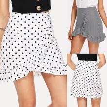 7bbe0d1baf013 HIRIGIN Women Wrap Ruffle A Line High Waist Summer Casual Striped Lady  Short Mini Skirts(