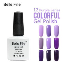 Belle Fille Nail Polish Gel Designs Gel Polish Purple Series Color Coat UV LED Soak Off Purple Colors Coat UV LED Gel(China)