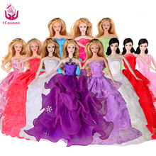 UCanaan Princess Wedding Dresses For Barbie Doll Random Pick Lot 5 Pcs Handmade Party Doll's Clothes Gown Gift Baby Toys(China)