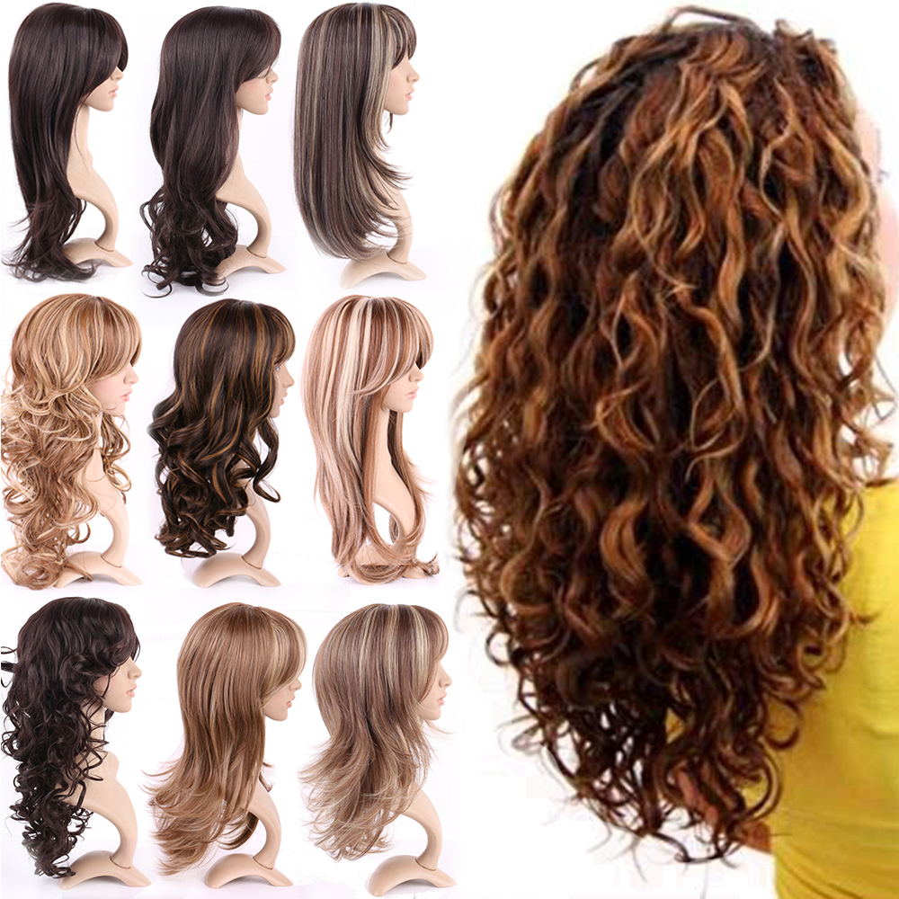 Top Quality Women Girls Natural Synthetic Hair Wig Long Ombre Black Brown Blonde Cosplay Party Full Wigs Soft<br><br>Aliexpress