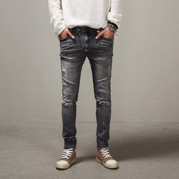 Men Distressed Biker Jeans Slim Fit Ripped Denim Pants Pencil Pants New 2017 Garment Washed Mens Motorcycle Jeans Free ShippingÎäåæäà è àêñåññóàðû<br><br>