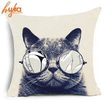 Hyha Trippy Cat Polyester Cushion Cover Gentlemen Pop Art Creative Cat Animal Home Decorative Pillows Cover for Sofa Car Cojines(China)