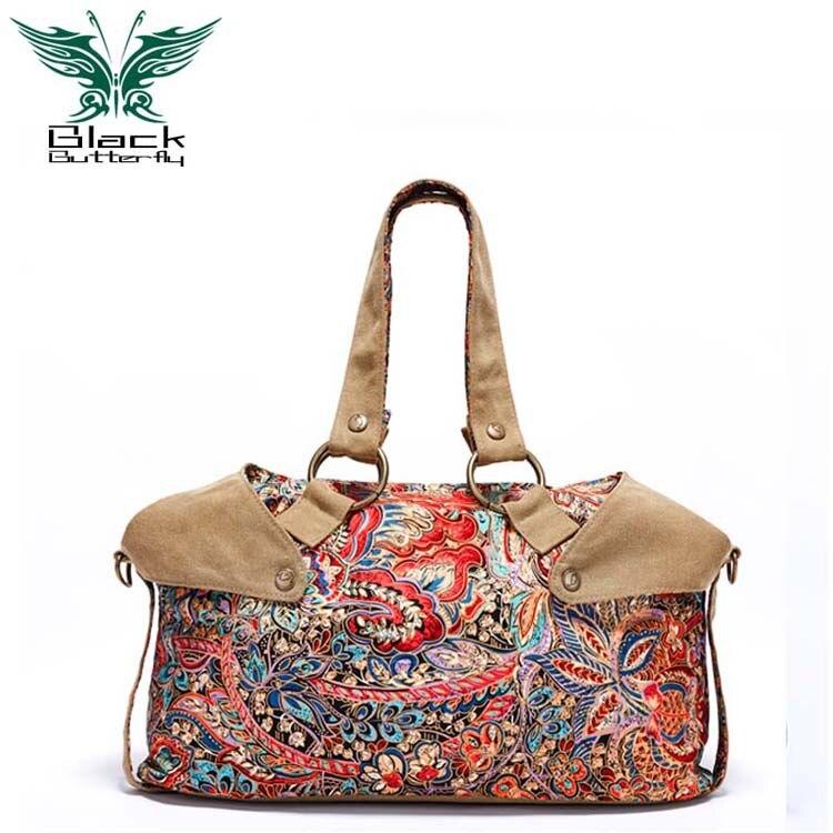 Black butterfly Fashion Canvas Handbags Women National wind large single shoulder bag Girls Bolsos Women Canvas Bags<br><br>Aliexpress