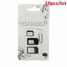 10pcs Nano SIM Card Adapter 4 in 1 micro sim adapter with Eject Pin Key Retail Package for iPhone 5 5S 6 7 4 for Samsung S8 plus()