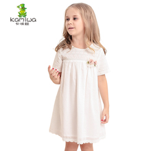 KAMIWA Girls Dresses 2017 Summer Style Cotton Tall Waist Cute Lace White  Brand Teenage Kids Clothes Baby Children's Clothing