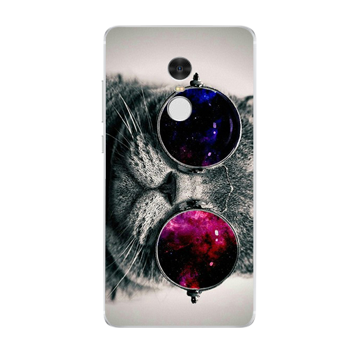 For Xiaomi Redmi 3 3S 4A 4X 4 4S Note 3 Note 4 Note 4X Half face Gray Dark owl Tilted head Glasses Indian Cat Phone Case