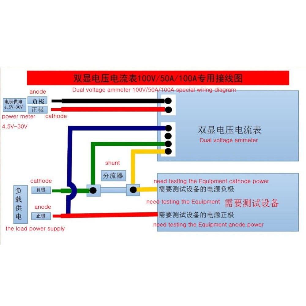 DC 100V 10A Voltmeter Ammeter Blue + Red LED Amp Dual Digital Volt Meter Gauge #L057# new hot