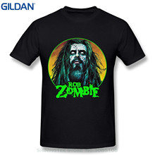 GILDAN Fashion T-shirts Summer Straight 100% Cotton Men's Rob Zombie White Zombie O-neck Tshirts Black(China)