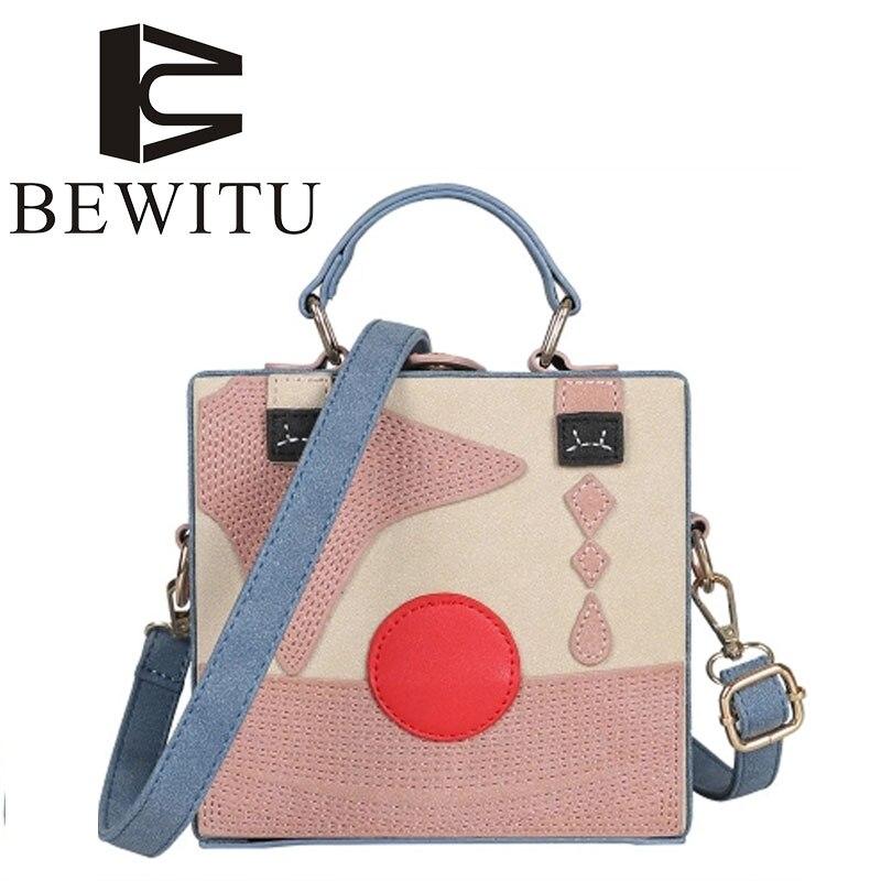 BEWITU Personality Clown Box Bag Female 2018 New European Retro Fashion Star Hit The Color Box Small Square Bag Shoulder Bag<br>