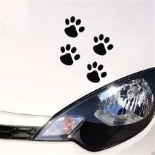 50 Sets/Lot Black Sliver Bear Dog Cat Paw Print Pet Animal Footprint Funny 3D Car Stickers Emblem Sticker Decoration For Cars
