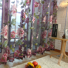 Eseld Purple Tulle for Windows Luxury Sheer Curtain for Kitchen Living Room The Bedroom Design Window Treatments Panel Draperies