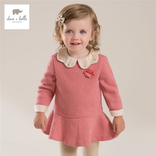DB3942 dave bella autumn fall baby girl latest  peter pen collar cute dress girls lolita dark pink birthday  dress