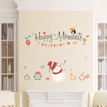 Good Merry Christmas Snowman Window Wall Sticker Removable Decoration Living Room Christmas Poster(China)