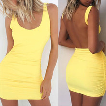 Buy 2017 Sumer Fashion Casual Woman Dress Womens Clothing Sleeveless Backless Simple Solid Evening Party Beach Woman Mini Dress for $4.90 in AliExpress store
