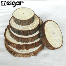Round Wooden Chips Natural Wood Slices Tablemat Coasters Home Room Wedding Table DIY Decoration Crafts 6cm/8cm 10Pcs/Set