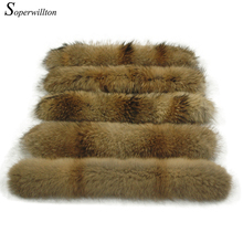 2017 Winter 100% Real Natural Fur Collar & Womens Scarfs Fashion Coat Sweater Scarves Collar Luxury Raccoon Fur Neck Cap #A320